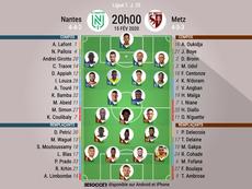 Les compos officielles du match de Ligue 1 entre Nantes et Metz. BeSoccer