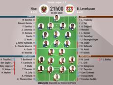 Compos officielles Nice - Bayer Leverkusen, Europa Ligue, J5, 2020. BeSoccer