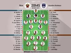 Compos officielles Nice-Bordeaux, Ligue 1, J.13, 08/11/2019, BeSoccer
