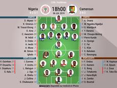 Compos officielles Nigéria-Cameroun, CAN, Huitièmes de finale, 06/07/2019, BeSoccer.