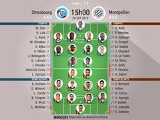 Les compos officielles du match de Ligue 1 entre Strasbourg et Montpellier. BeSoccer