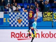 Monchu dio un importantísimo triunfo al Barça B. Twitter/FCBarcelonaB