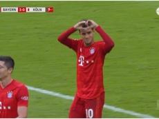 Coutinho se estrenó como goleador en el Bayern. Captura/FoxSports