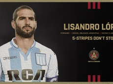 Lisandro López acabó su contrato con Racing. Twitter/ATLUTD