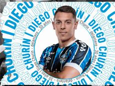 Grêmio apresentou oficialmente o cerntroavante argentino Diego Churín. Twitter/gremio_es