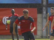 Cristian Gómez, durante un entrenamiento con el Espanyol.