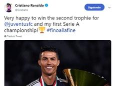 A mensagem de Cristiano nas redes sociais. Twitter/Cristiano