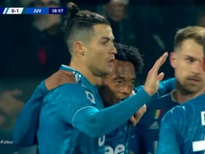 Ronaldo scored again. Screenshot/Movistar