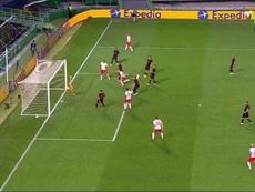 Olmo made it 1-0 Leipzig. Screenshot/MovistarLigadeCampeones