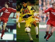 De izquierda a derecha, Mark Hughes, Jorge Campos y Soren Lerby.