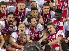 De Ligt avoided talking about Barcelona after Ajax's Eredivisie glory. Twitter/AFCAjax