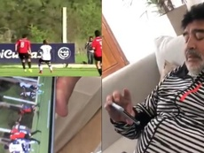 Maradona tuvo que rendirse a la evidencia del golazo de Guiñazú. SportsCenter/GimnasiaOficial