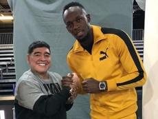 Maradona bromeó sobre la posibilidad de fichar a Bolt. Instagram/UsainBolt