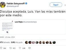 Luis Mejía y Estoyanoff hacen las paces. Captura/LoloEstoyanoff