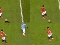 Bruno Fernandes protagonizou uma cena com Guardiola no derby. Twitter/FootballDaily