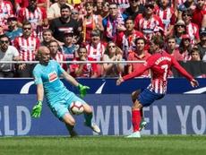 El Atlético probó una y otra vez la puerta rival. EFE