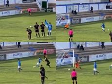 Dos jugadores del Almansa revivieron el penalti de Messi y Suárez. Twitter/JoseAntonioIL