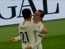Griezmann asistió en el 0-1 y marcó el 0-2. Captura/TF1