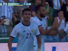 Dybala got an assist for Argentina v Ecuador. Captura/Twitter/DAZN_ES