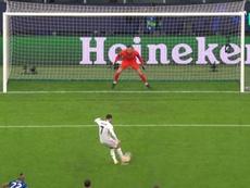 Hazard marque son premier but en Ligue des champions avec le Real Madrid. Capture/Movistar