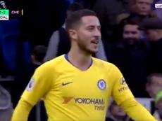 Hazard dio una asistencia a Pedro y, después, marcó. Captura/BeINSports