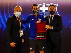 El Barça homenajeó a Aduriz. Twitter/FCBarcelona_es