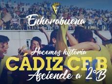 El Cádiz B celebró el ascenso a Segunda División B. CádizB