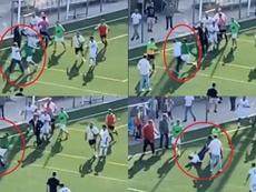 Un jugador local agredió al técnico rival. Capturas/AlexPerezEsc