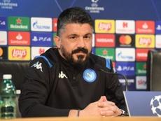 El entrenador del Nápoles Gennaro Gattuso, durante la rueda de prensa previa al encuentro del Barcelona en la Champions League. SSCNapoli