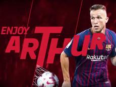 Arthur ya es culé. Twitter/FCBarcelona_es