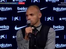 Braithwaite a été présenté comme un nouveau joueur du Barça. BarcaTV