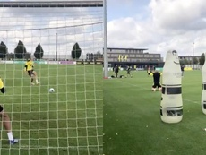 Haaland imitó a David Luiz en los penaltis. Captuas/Twitter/BVB
