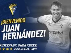 Juan Hernández jugará cedido en el Cádiz. Twitter/CádizCF