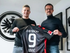 Jovic during his presentation with Eintracht. Eintracht