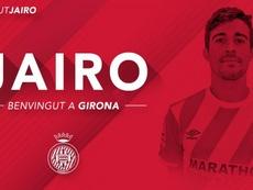 Jairo, nuevo jugador del Girona. Twitter/Girona
