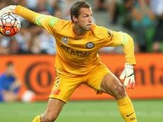 El guardameta danés del Melbourne City, Thomas Sorensen, en un partido del club australiano. MelbourneCityFC