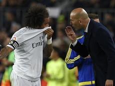 A irritação de Zidane com Marcelo. AFP