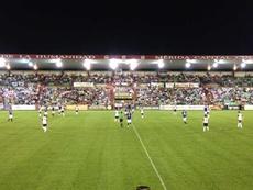 El Mérida empató a cero ante el Coruxo. Twitter/Merida_AD