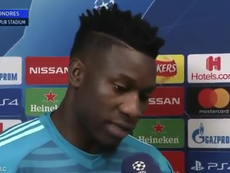 Onana was happy with Ajax's result but says their work is not done yet. Screenshot/Vamos