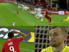 El portero suplente del Lens se hizo un lío y encajó el segundo gol. Capturas/Movistar