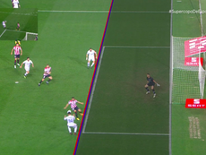Benzema pulled one back for Real Madrid with the help of VAR. Screenshot/Vamos