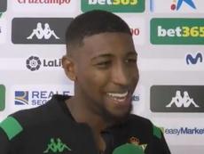 Emerson, contento por el gol y la llamada de Brasil. Captura/RealBetis