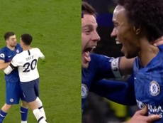 Kovacic and Dele Alli argued before Chelsea won a penalty. Capturas/DAZN