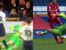 Pickford made a similar challenge on Dele Alli in the past. Screenshots/DAZN