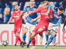 L'attaccante norvegese del Salisburgo autore dell'1-0, Haland. Twitter/RedBullSalzburg