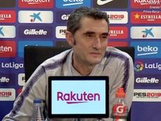 Valverde, de buen talante en su comparecencia. Captura/BarçaTV