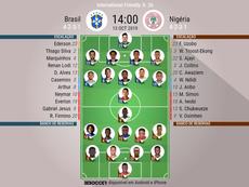 A Seleção Brasileira encara a Nigéria em jogo amistoso. EFE/Wallace Woon/Archivo