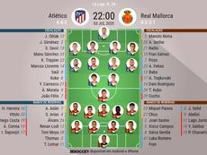 Escalações Atlético de Madrid e Mallorca - 34ª rodada LaLiga- 03/07/2020. BeSoccer