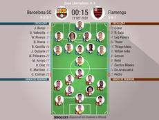 Barcelona e Flamengo se enfrentam no estádio Monumental de Guayaquil. EFE/Marcos Pin/Arquivo