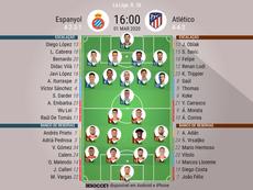 Escalações de Espanyol e Atlético de Madrid pela 26ª rodada da Liga. BeSoccer